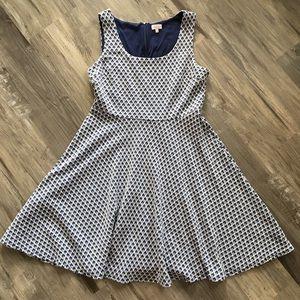 Pixley Stitchfix XL Navy White Skater Dress Knit